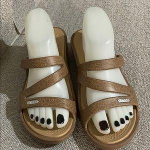 Crocs Brown Mickey Mouse Slide Sandals Excellent
